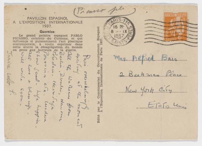 Denise Loeb's postcard to Alfred H. Barr Jr.