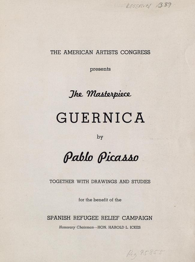 Catalogue of the exhibition organised by the American Artists' Congress at the Valentine Gallery, for the benefit of Spanish refugees. Signed by Juan Negrín and Julio Álvarez del Vayo.