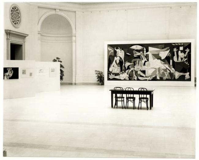 Views of the installation of the exhibition Picasso's Guernica at the San Francisco Museum of Modern Art