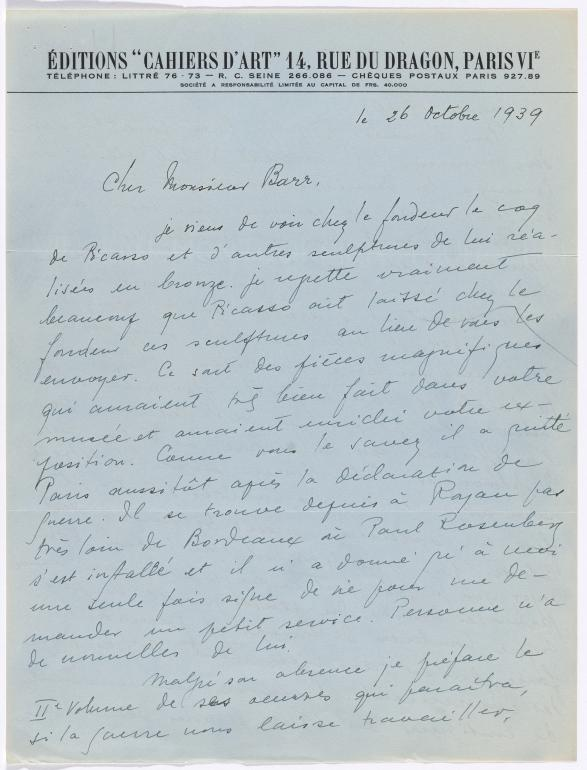 Christian Zervos's letter to Alfred H. Barr Jr., dated 26 October 1939