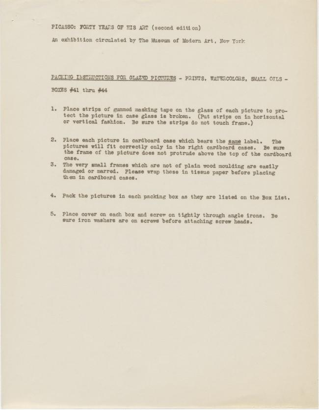 Instrucciones de embalaje de la exposición Picasso: Forty Years of His Art (second edition)