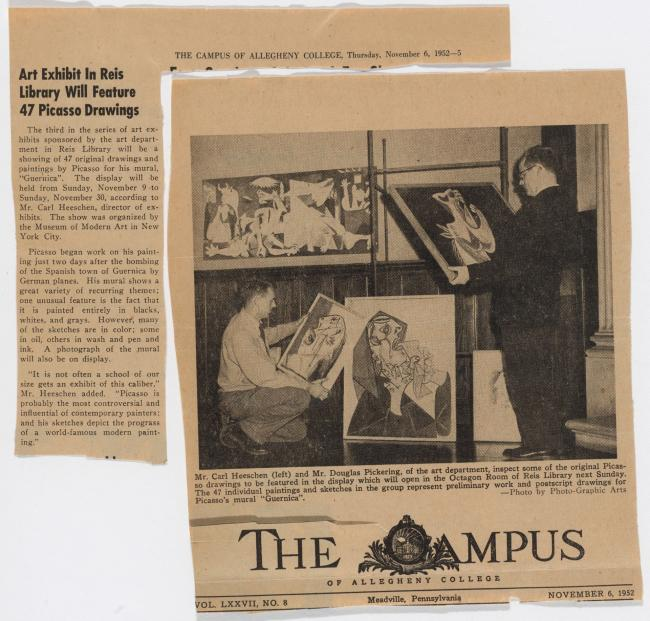 Front cover with a photograph of the installation of Studies for Guernica