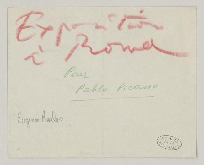 Eugenio Reale's letter to Pablo Picasso, date 5 December 1952