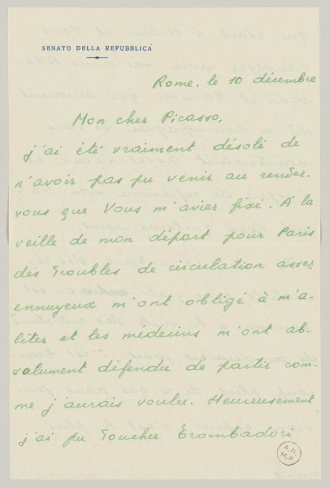 Eugenio Reale's letter to Pablo Picasso, dated 10 December 1952