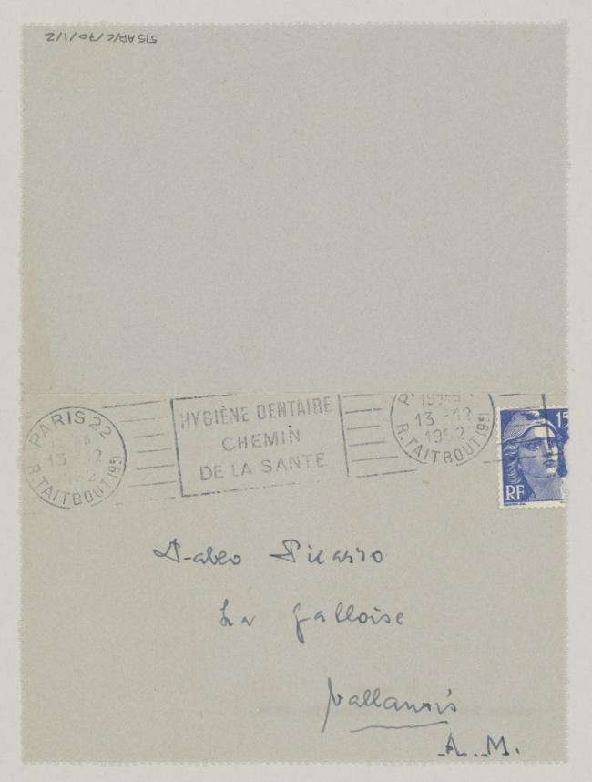 Daniel-Henry Kahnweiler's letter to Pablo Picasso, dated 13 December 1952