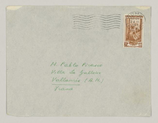 Eugenio Reale's letter to Pablo Picasso, dated 24 June 1953
