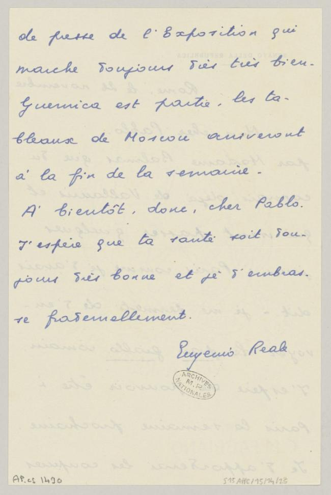 Eugenio Reale's letter to Pablo Picasso, dated 26 November 1956