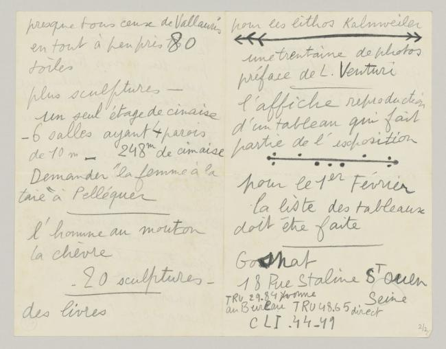 Personal notes by Pablo Picasso