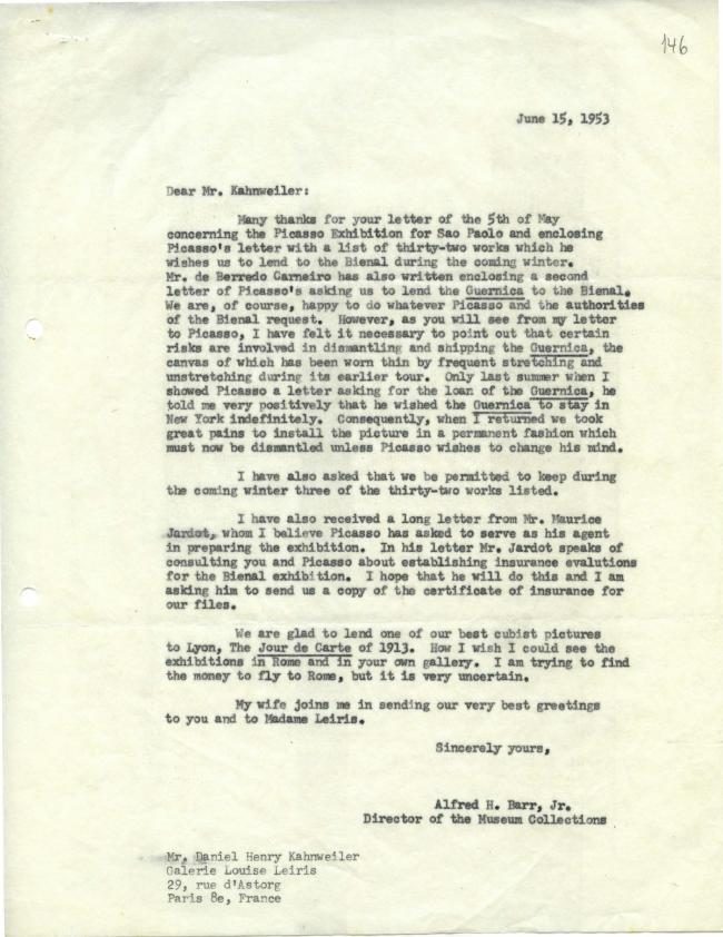 Alfred H. Barr Jr.'s letter to Daniel-Henry Kahnweiler, dated 15 June 1953