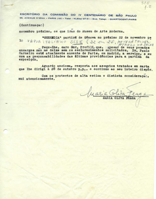 Maria Oliva Fraga's letter to Arturo Profili, dated 5 November 1953