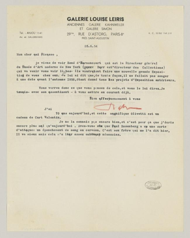 Daniel-Henry Kahnweiler's letter to Pablo Picasso, dated 25 June 1954