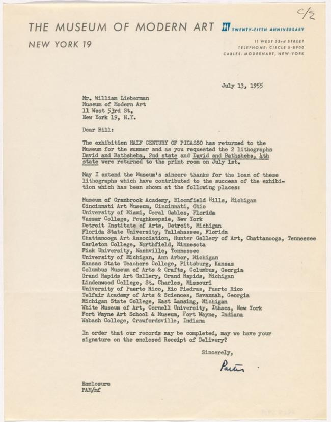 Internal letter from the Museum of Modern Art, New York, to William Lieberman