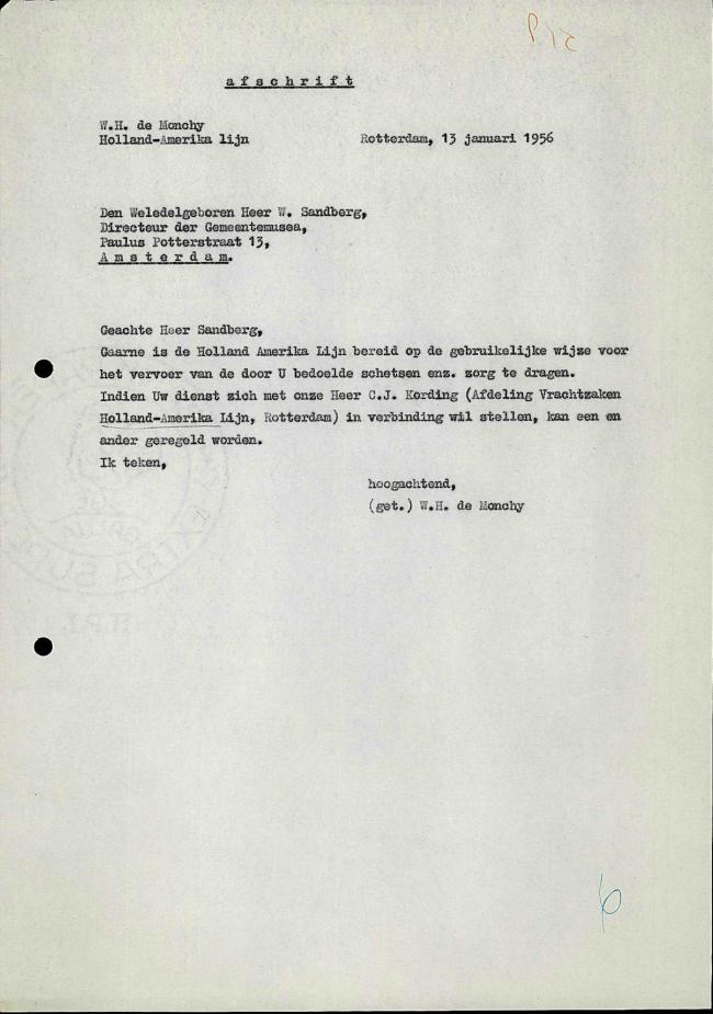 A letter from Holland-Amerika Lijnto to Willem Sandberg, dated 13 January 1956