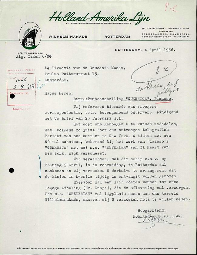 Carta de Holland-Amerika Lijn a Willem Sandberg del 4 de abril de 1956