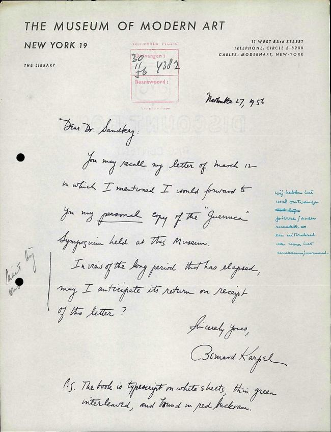 Bernard Karpel's letter to Willem Sandberg, dated 27 November 1956