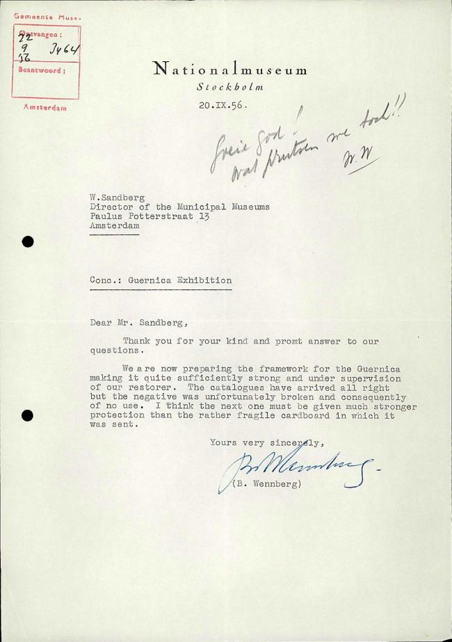 Bo Wennberg's letter to Willem Sandberg, dated 20 September 1956