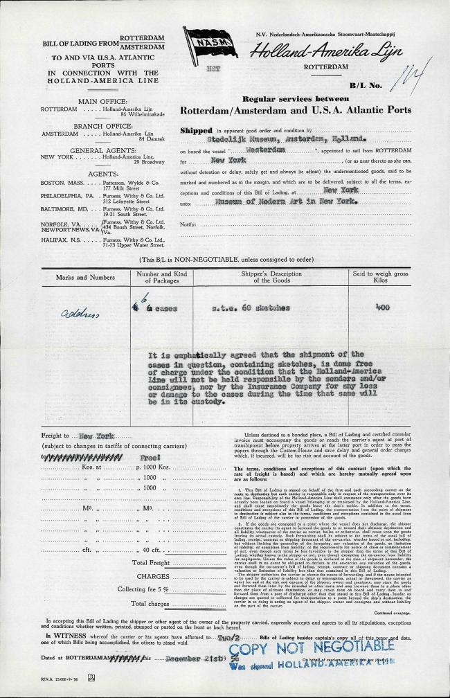 A contract from the transport company Holland-Amerika Lijn for the delivery of  Guernica and studies to New York