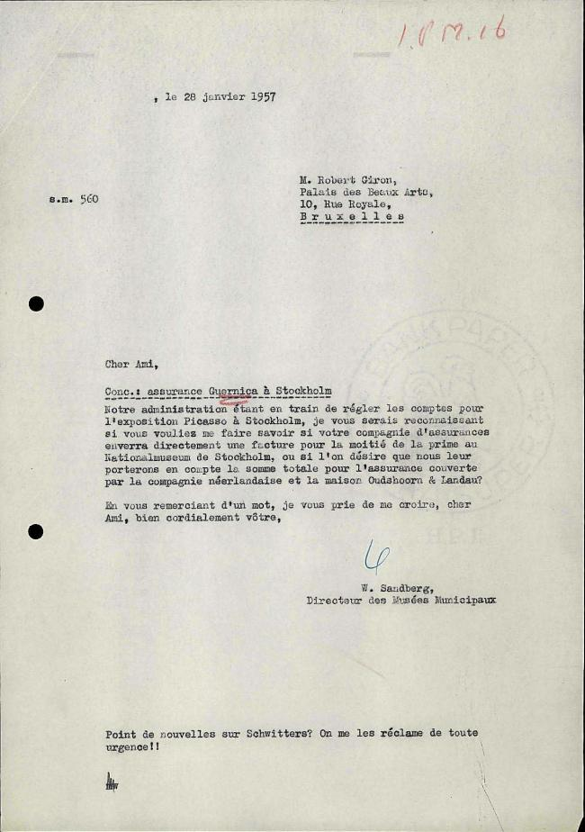 Willem Sandberg's letter to Robert Giron, dated 28 January 1957