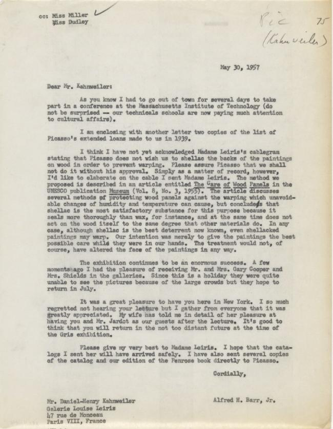 Alfred H. Barr Jr.'s letter to Daniel-Henry Kahnweiler, dated 30 May 1957
