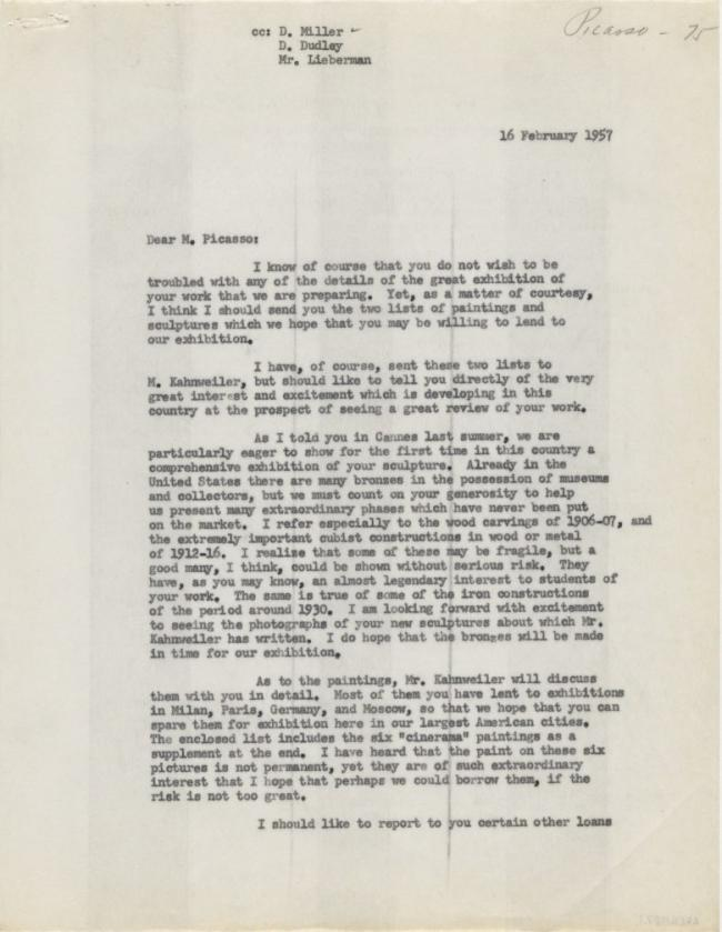 Alfred H. Barr Jr.'s letter to Pablo Picasso, dated 16 February 1957