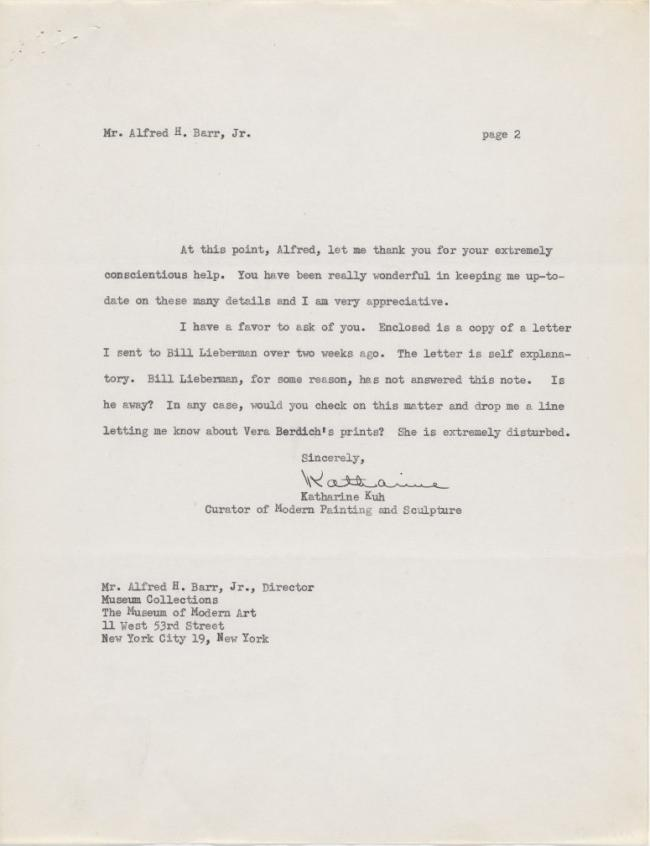 Katharine Kuh's letter to Alfred H. Barr Jr.