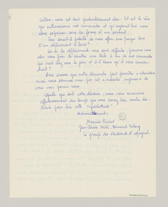 A letter from the Groupe d'étudiants d'espagnol to Pablo Picasso