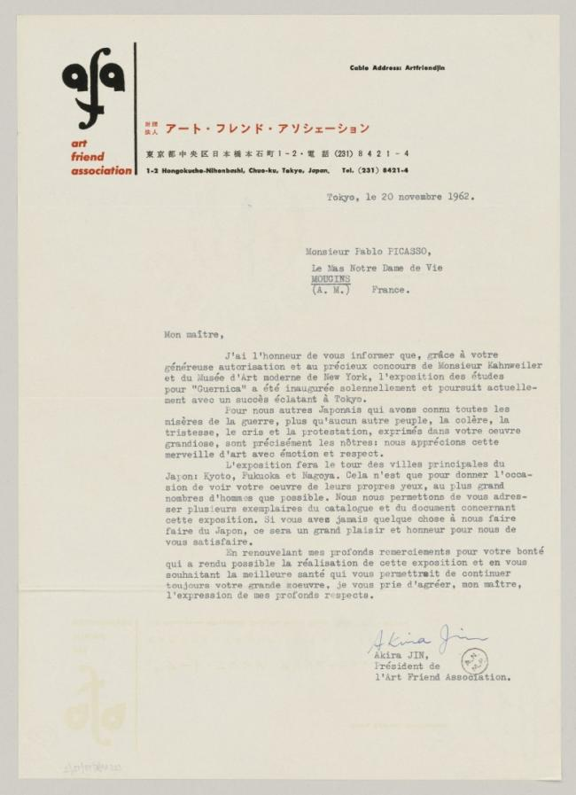 Akira Jin's letter to Pablo Picasso, dated 20 November 1962
