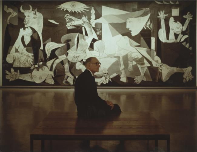 Alfred H. Barr Jr. in front of Guernica