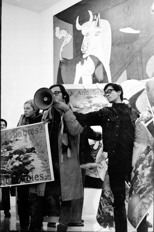 The Art Workers' Coalition and Guerrilla Art Action Group protest in front of Guernica