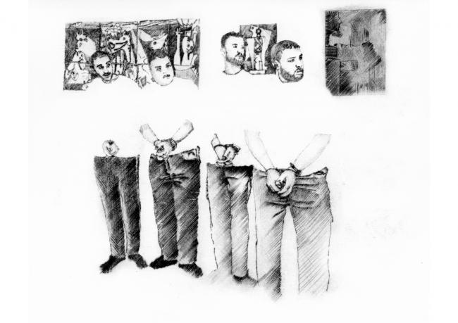 Lebanese prisioners in the Haradem prision in Central Israel, 2012. Drypoint print, 1/9, 39 x 46,5 cm.