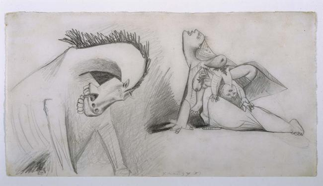 Horse and Mother with Dead Child. Sketch for Guernica