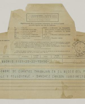 Francisco Sánchez Cantón's telegram to Pablo Picasso