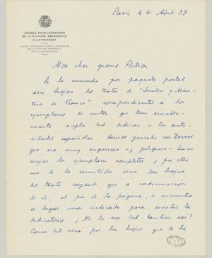 Juan Larrea's letter to Pablo Picasso, dated 6 August 1937