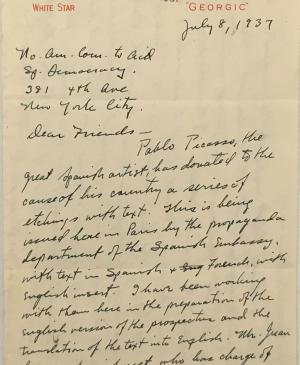 Carta de Paul P. Rogers al North American Committee to Aid Spanish Democracy