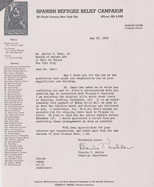 Blanche Mahler's letter to Alfred H. Barr Jr.