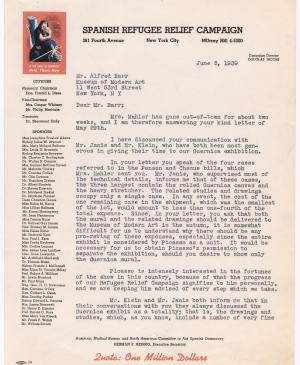 Evelyn Ahrend's letter to Alfred H. Barr Jr., dated 5 June 1939