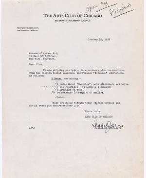 Isabel Jarvis's letter to the Museum of Modern Art, New York