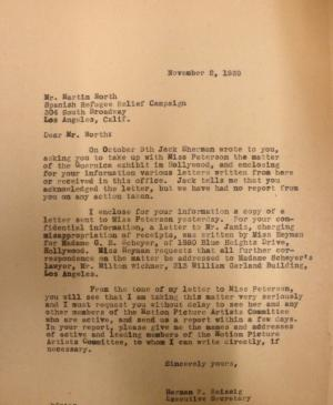 Carta de Herman F. Reissig a Martin North