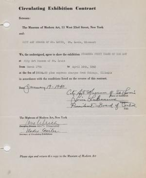 Circulating exhibition contract for Picasso: Forty Years of His Art, New York, and the City Art Museum of St. Louis, Missouri.