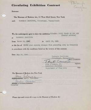 Circulating exhibition contract for Picasso: Forty Years of His Art (second edition) between the Museum of Modern Art, New York, and the Carnegie Institute.
