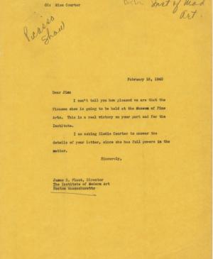 Alfred H. Barr Jr.'s letter to James Plaut