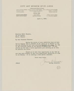 James B. Musick's letter to Pablo Picasso, dated 6 April 1940