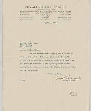 James B. Musick's letter to Pablo Picasso, dated 16 April 1940