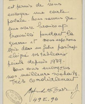 Alfred H. Barr Jr.'s postcard to  Pablo Picasso
