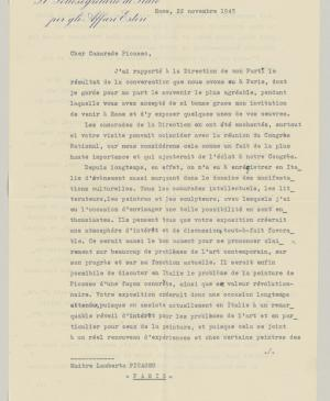 Claude Jaeger's letter to Pablo Picasso with an enclosed letter from Celeste Negarville