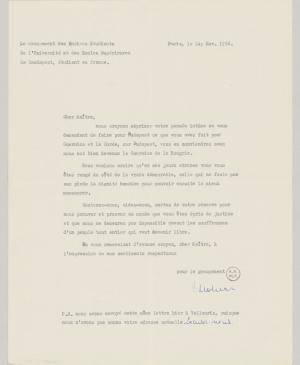 A letter from J. Groham and T. Madden to Pablo Picasso