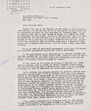 Juan Larrea's letter to Alfred H. Barr Jr., dated 21 December 1947