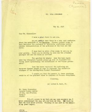 Alfred H. Barr Jr.'s letter to Daniel-Henry Kahnweiler, dated 21 May 1947