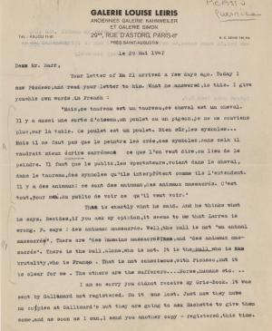 Daniel-Henry Kahnweiler's letter to Alfred H. Barr Jr., dated 29 May 1947
