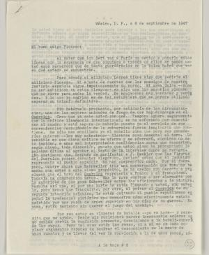 Juan Larrea's letter to Pablo Picasso, dated 6 September 1947